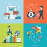 Linear Flat business man money vector Bills Goal M Stock Photography
