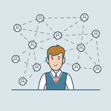Linear Flat business man network lines icons vecto stock illustration