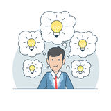 Linear Flat Business man plenty idea chat bubble l vector illustration
