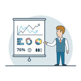 Linear Flat Business man show report vector. Linear Flat Businessman shows report, presentation vector illustration. Financial Business Analysis, Audit, Planing Stock Images