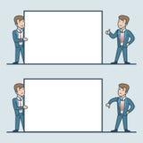 Linear Flat Business men hold white blank stock illustration