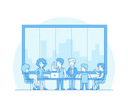 Linear Flat Business people brainstorming vector T. Linear Flat Business people brainstorming in meeting room vector illustration. Businessman, secretary royalty free illustration