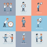 Linear Flat Business people object vector. Linear Flat Business people and object situations vector illustration. Business marketing promotion concept. Win Stock Image