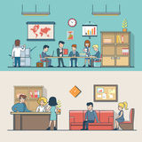 Linear Flat Business people work place clients  Royalty Free Stock Photos