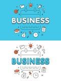 Linear Flat BUSINESS Plan calendar schedule website Stock Image