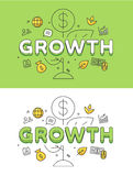 Linear Flat Business Strategy GROWTH plant coin  Royalty Free Stock Images