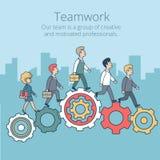 Linear Flat Business team work people gearwheels  Stock Image