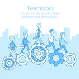 Linear Flat Business team work people gearwheels v vector illustration