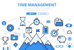 Linear flat Business TIME MANAGEMENT infographic  Royalty Free Stock Images