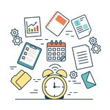 Linear flat Business TIME MANAGEMENT infographic t. Linear flat TIME MANAGEMENT infographics template and icons website vector illustration. Business concept Royalty Free Stock Photos