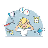 Linear Flat business woman deadline multitasking. Linear Flat despaired businesswoman holding head, phone, chat bubble, hummer, gearwheels, alarm clock and Stock Photos