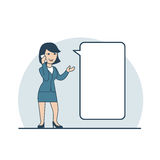 Linear Flat Business woman making phone call. Linear Flat Happy Businesswoman making phone call, share information vector illustration. Empty talk bubble to Stock Images