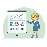 Linear Flat Business woman report vector Financial. Linear Flat Businesswoman shows report, presentation vector illustration. Financial Business Analysis, Audit Stock Image