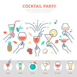 Linear flat celebrations Alcohol drink Cocktail pa Stock Image