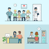 Linear Flat clinic doctor patient lag hand headache Royalty Free Stock Image