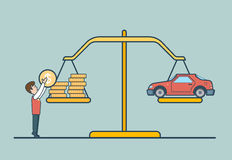 Linear Flat coin car scale, man libra vector. Prop. Linear Flat Dollar coins and car on scales, man putting coin to balance libra vector illustration. Property Stock Photos