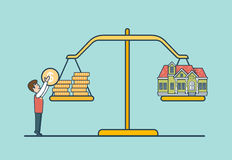 Linear Flat coin house scale, man libra vector. Re. Linear Flat Dollar coins and house on scales, man putting coin to balance libra vector illustration. Real Stock Image
