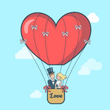 Linear Flat Couple fly Balloon form heart vector Royalty Free Stock Image