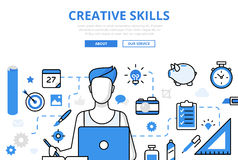 Linear flat CREATIVE SKILL infographic    Stock Photography