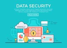 Linear flat Data Security infographics vector. App vector illustration