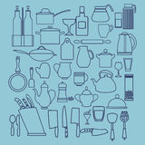 Linear flat design illustration of collection  kitchenware Royalty Free Stock Images