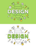 Linear Flat DESIGN pencil icons website vector set Royalty Free Stock Images