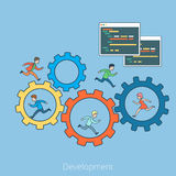 Linear Flat development People cogwheel Program. Linear Flat People running on cogwheel and inside, Program code interface window vector illustration. Business Stock Photos