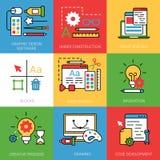 Linear Flat Development software Graphic design ve Stock Image