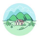 Linear Flat Eco house mountains trees vector villa Royalty Free Stock Photo