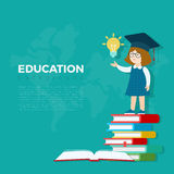 Linear Flat Education girl standing on book heap  Stock Photo