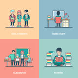 Linear Flat Education set student read study  Royalty Free Stock Image