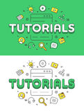 Linear Flat Education or Training Tutorials system. Linear Flat Tutorials word over Screen and icons website hero image vector illustration set. Education and Stock Photography