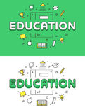 Linear Flat Education word over Book and icons Royalty Free Stock Images