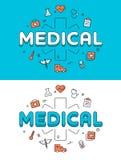 Linear Flat Emergency Medical Cross Health care Stock Photo