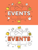 Linear Flat EVENTS gift box image vector Sale  Stock Photos