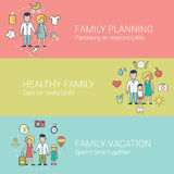 Linear Flat Family Health Vacation vector  Stock Photos