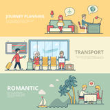 Linear Flat Family planing journey transport. Linear Flat Man and woman Planning journey and Romantic relax on resort vector illustration. Casual family life Stock Images