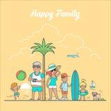 Linear Flat family sea landscape vector. Summer tr Stock Photos