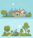 Linear Flat family walking nature house  Cas Royalty Free Stock Photo