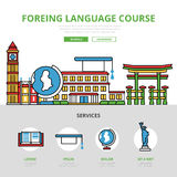 Linear flat Foreign language course infographics v Stock Image