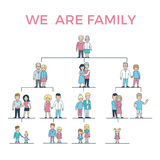 Linear Flat Genealogy. We Are Family parents, chil royalty free illustration