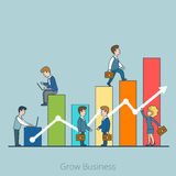 Linear Flat Grow Business people working vector  Royalty Free Stock Photography