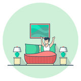 Linear Flat Happy Man lie bed room vector Casual  Stock Images