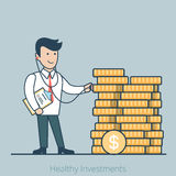 Linear Flat Healthy Investments business man steth Stock Photo