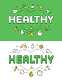 Linear Flat HEALTHY word over heart Health care ic. Linear Flat HEALTHY word over heart and icons website hero image vector illustration set. Medicine and Health Royalty Free Stock Images