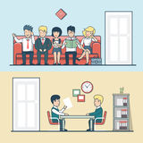 Linear Flat HR manager talks with man, candidate. Line vector illustration set. Interview, Business professionals concept royalty free illustration