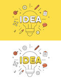 Linear Flat IDEA lamp image vector Business   Royalty Free Stock Photography