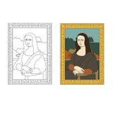 Linear flat illustration of portrait The Mona Lisa by Leonardo da Vinci. Stock Images