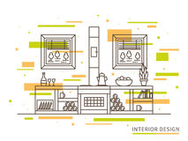 Linear flat interior design illustration of modern designer countryside house Royalty Free Stock Images