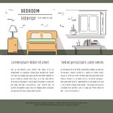 Linear flat interior design illustration of modern designer living apartment. Outline vector graphic concept. Royalty Free Stock Image